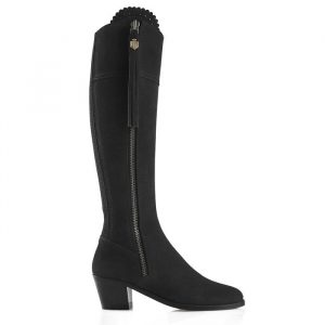 Fairfax And Favor Regina Heeled Suede Boot Black