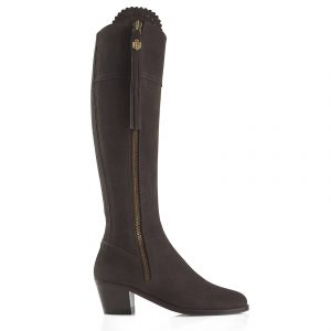 Fairfax And Favor Regina Heeled Suede Boot Chocolate