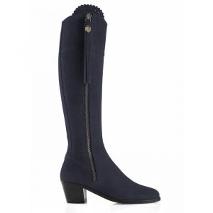 Fairfax And Favor Regina Heeled Suede Boot Navy