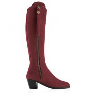 Fairfax And Favor Regina Heeled Suede Boot Oxblood