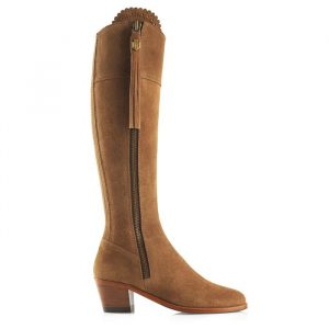 Fairfax And Favor Regina Heeled Suede Boot Tan